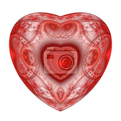 Red Herzen Fraktal auf weißem Hintergrund. Computer generierte grafische