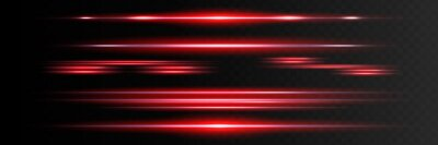 Sticker Red horizontal lens flares pack. Laser beams, horizontal light rays.Beautiful light flares. Glowing streaks on dark background. Luminous abstract sparkling lined background.