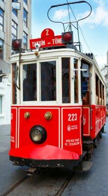Sticker Red Retro Tram auf Taksim Istiklal Straße