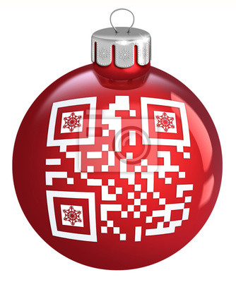 Red Weihnachtskugel mit Ornament QR-Code auf einem weißen