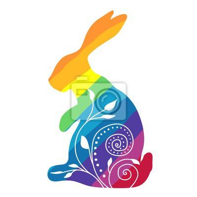 Regenbogen-Kaninchen mit Ornament