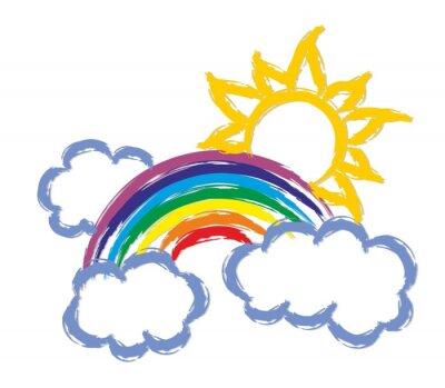 Regenbogen mit der Sonne.