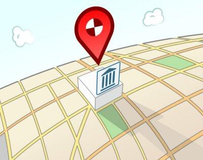 Regierung Gebäude 3D Ort Schild
