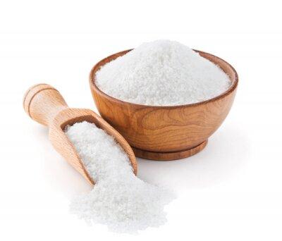 Sticker Regular table salt in a wooden bowl