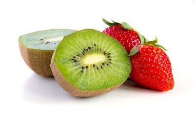 Sticker reif und saftig Kiwi und Erdbeere Nahaufnahme