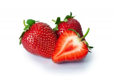 Sticker Reife Erdbeeren auf weißem Hintergrund