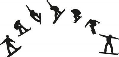 Sticker Reihe von Snowboard-Silhouetten Springen