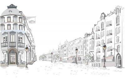 Sticker Reihe von Straßenansichten in der alten Stadt. Hand gezeichneter Vektorarchitekturhintergrund mit historischen Gebäuden.
