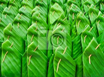 Reihe von Thai Dessert im Bananenblatt Paket