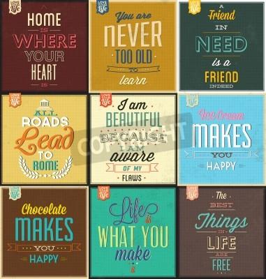 Sticker Reihe von Vintage Typographic Backgrounds - Motivational Quotes - Retro-Farben mit kalligraphische Elemente