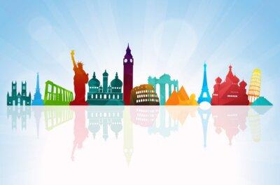 Sticker Reise-Hintergrund Skyline
