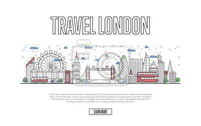 Reise-London-Plakat mit Architekturattraktionen in der linearen Art. Weltweites Reise- und Reisezeitkonzept. London-Skyline mit berühmten Marksteinen, britischem Tourismus und Reise vector Hintergrund