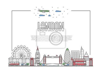 Reise-London-Plakat mit berühmten Architekturanziehungskräften in der linearen Art. Weltweites Reisen und Reisezeit Konzept. London-Marksteine, Stadtskyline, globaler Tourismus und Reisevektorhintergr