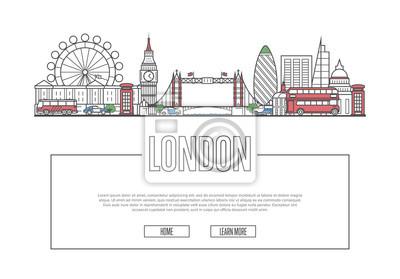 Reise-London-Vektorzusammensetzung mit berühmten Architekturmarksteinen in der linearen Art. Weltweites Reise- und Reisezeitkonzept. London nationale Anziehungskräfte auf weißem Hintergrund, globaler