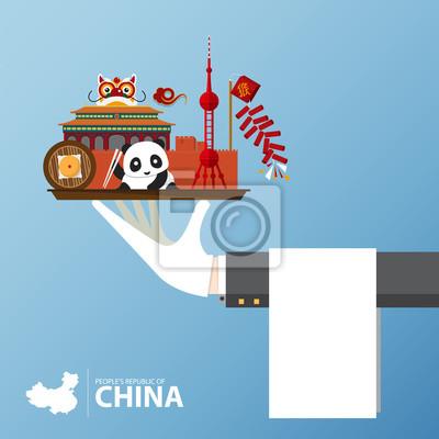 Reise nach China Infografik. Set von flachen Icons der chinesischen Architektur, Essen, traditionelle Symbole. Abbildung