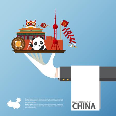 Reise nach China infografisch Set von flachen Ikonen der chinesischen Architektur, Lebensmittel, traditionelle Symbole. Illustration