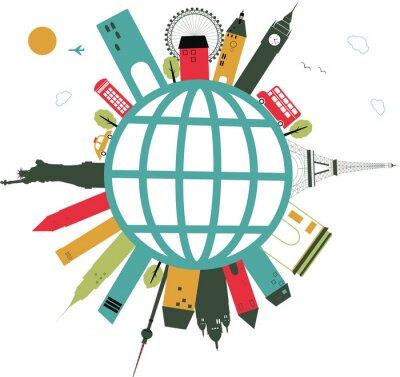 Sticker Reisen Globus auf weißem