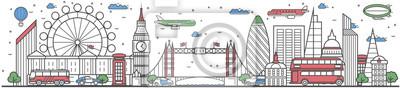 Reisen in London City Banner Vektor-Illustration. Weltweites Reisekonzept mit berühmten modernen und alten architektonischen Sehenswürdigkeiten. London Stadtbild Panorama, Wahrzeichen Linie Design Pos