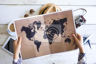 Sticker Reiseplanungskonzept auf der Karte