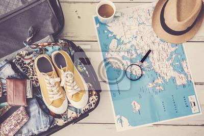 Sticker Reiseplanungskonzept auf Karte