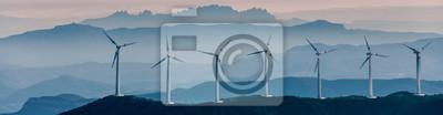 Sticker Renewable energy, wind energy with windmills