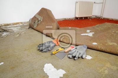 Renovierungs Alten Teppich Entfernen Werkzeug Und Handschuhe