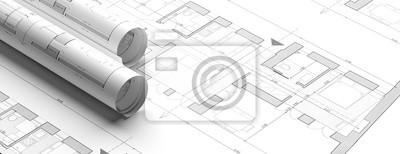 Sticker Residential building blueprint plans, banner. 3d illustration