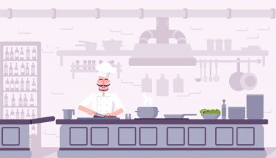 Restaurant kitchen interior vector illustration