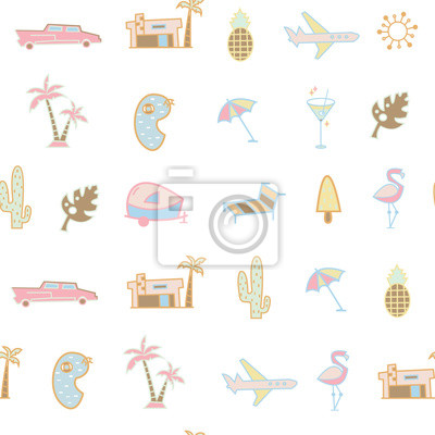 Retro beach icons. Colored vector seamless pattern