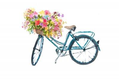 Sticker Retro blauen Fahrrad mit Blume auf weißem Hintergrund, Aquarell Illustrator, Fahrrad Kunst