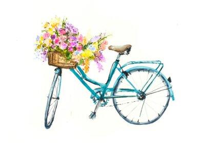 Sticker Retro blauen Fahrrad mit Blumen im Korb auf weiß Isolation, Aquarell Hand auf Papier gezeichnet