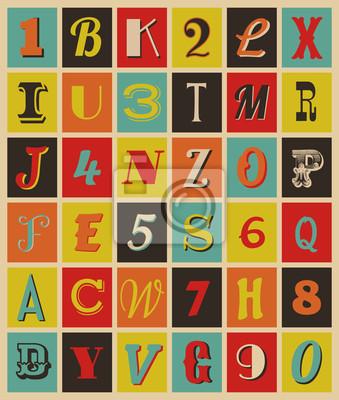Retro Buchstaben und Zahlen