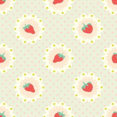 Sticker Retro Erdbeermuster. Schäbiger Chic-Stil