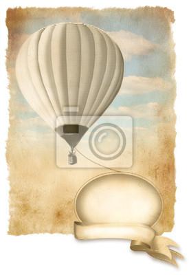 Retro Heißluftballon am Himmel mit Banner, alte Papier Textur.
