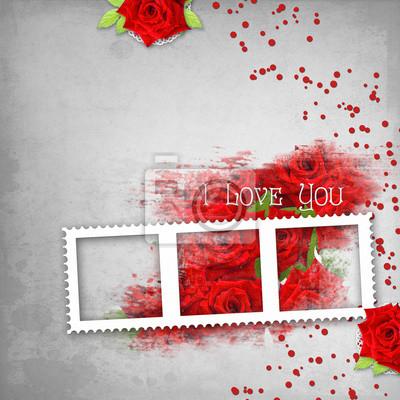Retro-Hintergrund mit Stempel-Frame-, Herz-, Text-Ich liebe dich, rot