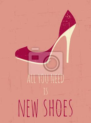 Retro Hochhackige Schuhe Poster