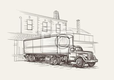 Retro- LKW-Sattelzug an gezeichneter Illustration des Verladedocks Hand. Vektor.