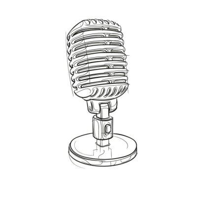 Retro-Mikrofon-Abbildung. Vektor.