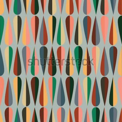 Sticker Retro- nahtloses Muster der modernen Art der Mitte des Jahrhunderts mit Tropfenformen in den verschiedenen Farbtönen, abstrakter wiederholender Hintergrund zu allen Netz- und Druckzwecken.