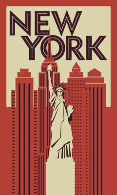 Retro poster New York. Statue of Liberty in the background of skyscrapers. Vector drawing