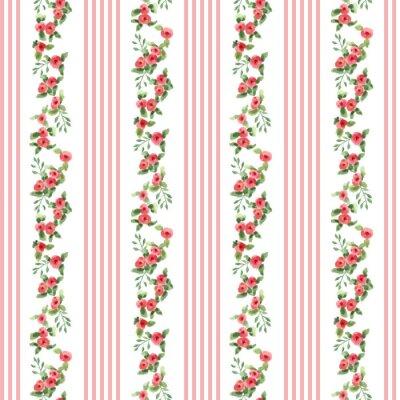 Sticker Retro-Stil Blumenmuster mit Streifen