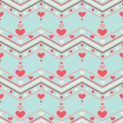 Sticker Retro style chevron seamless pattern with hearts