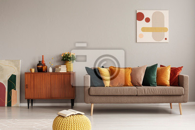 Sticker Retro style in beautiful living room interior with grey empty wall