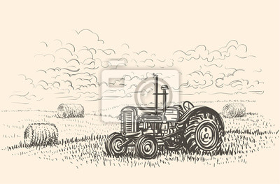 Retro- Traktor in gezeichneter Illustration des Feldes Hand. Vektor.