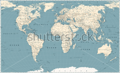 Sticker Retro World Map and Main State Roads. Large Detailed World Map vector illustration.