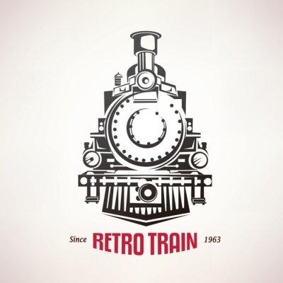 Sticker Retro Zug, Jahrgang Vektor-Symbol, Emblem, Label-Vorlage