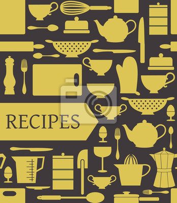 Rezepte Karte mit verschiedenen Zubehör für die Küche und eine Fahne.