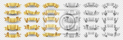 Sticker Ribbon banners. Gold silver ribbons vector set. Metallic banners isolated on transparent background. Illustration ribbon gold and silver design decoration