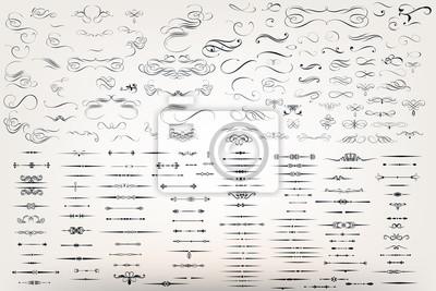 Sticker Riesige Set oder Sammlung von Vektor filigrane Flourishes für Design