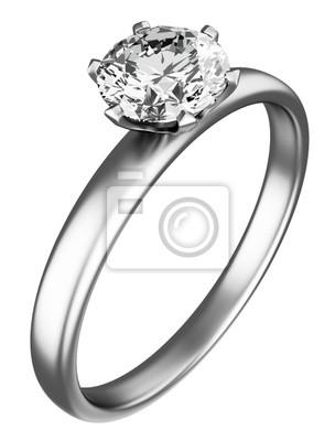Ring mit Diamanten auf dem weißen Hintergrund